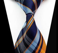 Fashion Men's Business Classic Blue Orange Check Jacquard Woven Necktie Tie