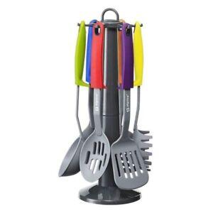 Set da Cucina 7 Pz Porta Utensili Mestolo Spatola Cucchiaio con Supporto Stand