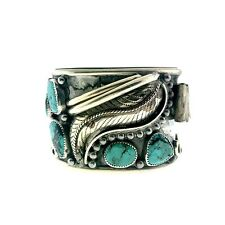 Navajo Sterling Silver Turquoise Black Large Wide Watch Cuff Bracelet