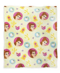 New Disney Beauty and Beast - Belle Fleece Princess Blanket - Yellow NWT
