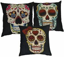 Luxbon Set of 3 Pcs Day of the Dead Mexico Fiesta Kitsch Candy Skull Cushion