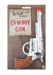 Silver Cowboy Gun Toy Fake Kids Wild West Sheriff Pistol Revolver Fancy Dress