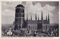 uralte AK, Danzig Marienkirche, drittgrößte Kirche der europäischen Christenheit
