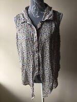 Avenue Womens Blouse Top Size 16 Multicolour Floral Tie Front Sleeveless Viscose