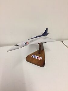 Vintage Fed-Ex Diecast Model Airplane Aeroplane Plane Concorde On Wooden Stand