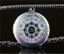 Om Moon Mandala Photo Cabochon Glass Tibet Silver Locket Pendant Necklace