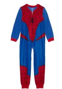 SPIDERMAN Boys Pajamas One Piece Union Suit Blanket Sleeper. Size: 4-5