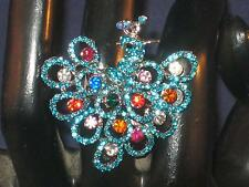NEW ADJ.BRIGHT BLUE PEACOCK TAIL RING W/MULTI COLORED CRYSTAL RHINESTONES  r150