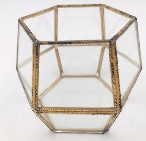Rustic Gold Lantern Tea Light Holder ~ Glass and Metal ~ Geometric
