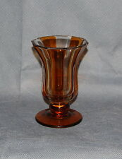 Bohemian Cut Glass Amber Flashed Small Panel Vase