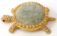 Tiny Florenza Vintage Vanity Turtle Pin Cushion Faux Pearls Red Rhinestone Eyes