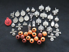 46 I Love Basketball Charms,Beads:Balls,Hoops,We're #1,Go Team,Cheer++ Free Ship