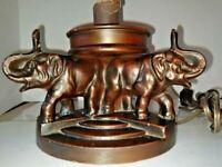 VTG Art Deco Nouveau Arts & Craft 3-Elephants Lamp 1900-1940 Art Shade Optional