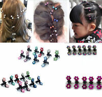 12PCS Lots Girl Baby Rhinestone Crystal Flower Mini Hair Claws Clips Clamps Gift