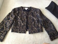 Ann Taylor Loft Black and Gold Long Sleeve Short Jacket Size 2 Crop Prom Sexy