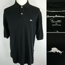TOMMY BAHAMA Men's Large Tall LT Black Supima Cotton S/S Polo Golf Shirt Marlin