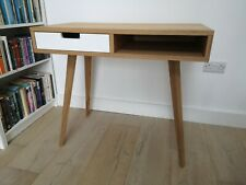Small Modern Oak Desk - Scandi Style With White Drawer
