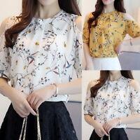 Women Fashion Chiffon T Shirt Floral Print Half Sleeve Blouse Casual Tops