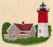 Nauset Lighthouse - Massachusetts SET OF 2 BATH HAND TOWELS EMBROIDERED BY LAURA