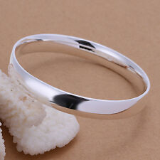 Wholesale 925Sterling Silver Noble Smooth Flat Round Loop Cuff Bracelet BB169