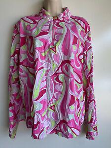 IBKUL ICIKULS Pink White Print UPF Golf Tennis L/S Mesh Inset Shirt Top  XXL