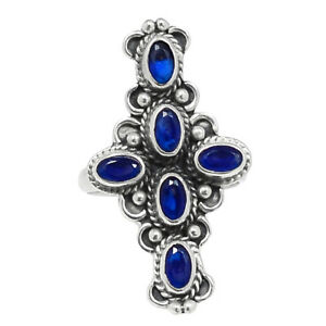 Cross - Sapphire - India 925 Sterling Silver Ring Jewelry s.6.5 BR93898