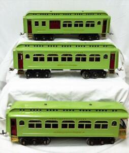 """3 Restored Lionel Standard Gauge Passenger cars 418 419 490 lt apple green 18"""""""