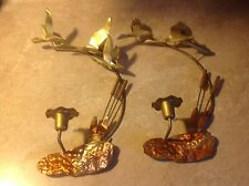 Vintage Pair Cattails Candle Holder Sconce Copper Brass Geese Wall Art