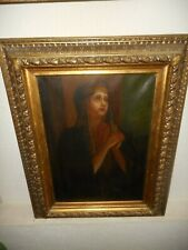 Very old oil painting - Religious - Holy Mary is praying , great frame, antique!