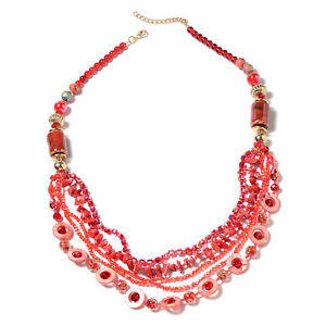 """Red Coral Shell-Brazilian Citrine-Bead Necklace- Murano Style 24"""" Opera Length"""