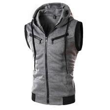 Men Hoodie Sleeveless Zipper Jacket Vest Waistcoat Hooded Sweatshirt Coat Sport