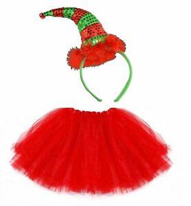 NEW SEQUIN ELF XMAS HEADBAND TUTU SET COSTUME CHRISTMAS PARTY FANCY SKIRT DRESS