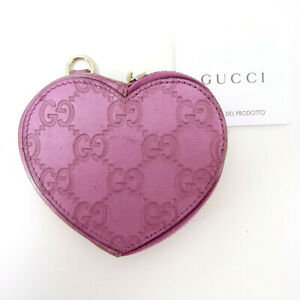 Gucci GG Supreme Monogram Guccissima Heart Shaped Coin Purse Wallet in Pink