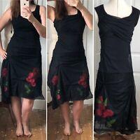 Save the Queen Punk Wedding Dress Alternative Goth Black 3D Roses Netting