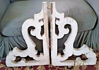 "1800's ANTIQUE WOOD CORBELS SCROLL GINGERBREAD CHIPPY WHITE SHABBY 24"" X 18"""