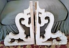"""1800's ANTIQUE WOOD CORBELS SCROLL GINGERBREAD CHIPPY WHITE SHABBY 24"""" X 18"""""""