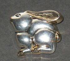 Plate Bunny Rabbit Brooch Vintage Gold & Silver