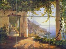 24 x 18 Tumbled Marble Mural Amalfi Coast Sea Bay Tile #170