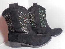 Beverly Feldman Black Suede Bling Cowboy Boots EUC size 10B