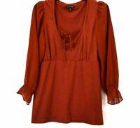 Cha Cha Vente Women's Large Sheer Long Sleeve Burnt Orange Tunic Blouse Top