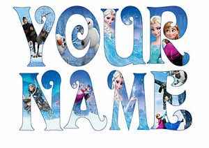 DISNEY FROZEN LETTER NAME STICKERS WALL DECO DECAL 4 SIZES PERSONALISED lot FS
