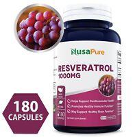NusaPure Resveratrol 1000mg 180caps (NON-GMO & Gluten Free)
