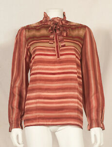 'SAINT CLAIR - PARIS ' 70'S FRENCH VINTAGE EVENING TUNIC SHIRT UK 12 fitted 14