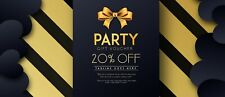 Party Tagline goes here 20% off Entire Order 1coupon 12-31-21