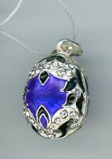 spread & silver decor w/clear stones Russian Faux Silver Egg Pendant, deep blue