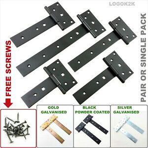 Tee Hinges Straight Galvanized Heavy Duty T Strap Hinges Door Gate Shed Barn STR
