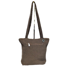 The Sak Crochet Shoulder Bag Handbag Tote Zipper Hobo Knit Brown