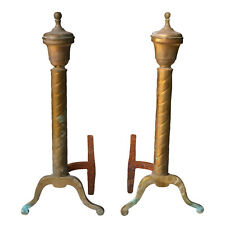 Antique Federal Imperial Twisted Copper Fireplace Andirons - A Pair