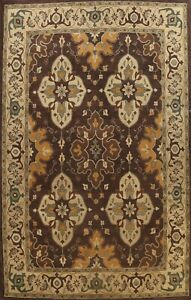 Dark Brown Traditional Oriental Area Rug Palace Size Hand-Tufted Carpet 12x16 ft