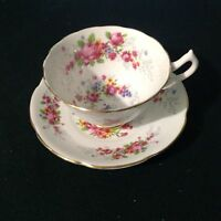 COLLINGWOODS BONE CHINA CUP & SAUCER  PATTERN 574 PINK ROSES FLORAL GOLD TRIM